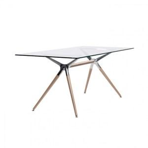 Art.TV02 - Tavolo rettangolare con piano in vetro e struttura in legno (SCAB)
