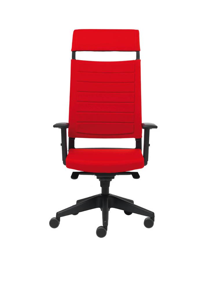 Art.PO04 - Poltrona Operativa con schienale alto e poggiatesta. Disponibile in diverse finiture e rivestimenti (VAGHI)