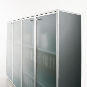 Art.CONT09 - Mobile contenitore con ante in vetro, disponibile in altre finiture e dimensioni (OFFICE&CO)