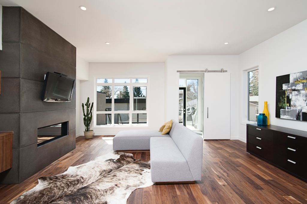 Minimalist living room with white couch