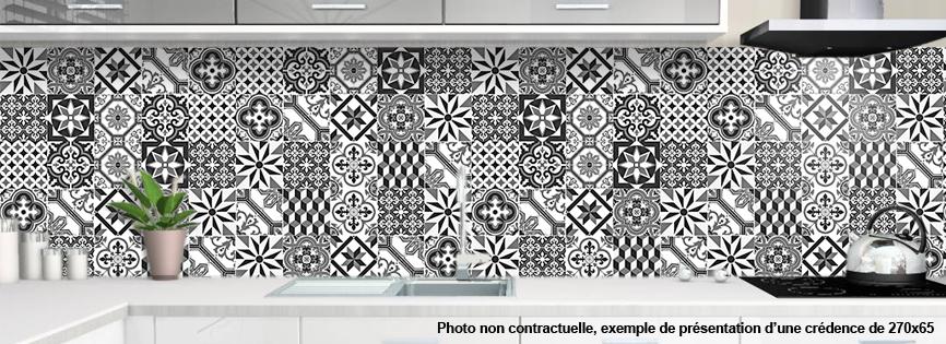 credence carreaux de ciment noir et blanc