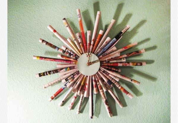 DIY Ρολόι τοίχου από φύλλα περιοδικών