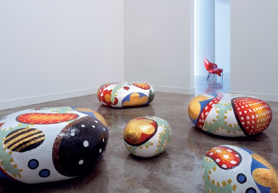 ALICE, BEATRICE, CECILIA, DAPHNE & ELENA Poufs-Stools-Ottomans-Coffee Tables-Side Tables by Marcel Wanders (2004-2012) from BISAZZA on permanent display at the BISAZZA FOUNDATION (courtesy of BISAZZA & BISAZZA FOUNDATION - copyright: ©Marcel Wanders, BISAZZA, BISAZZA FOUNDATION)