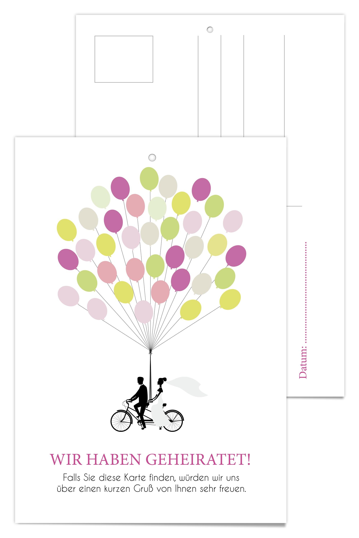 Luftballonkarten zur Hochzeit mit Lila Ballons  Design