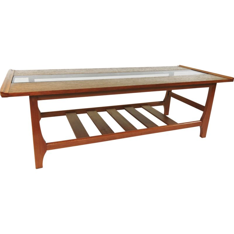 rectangular teak vintage coffee table with smoked glass 1970s
