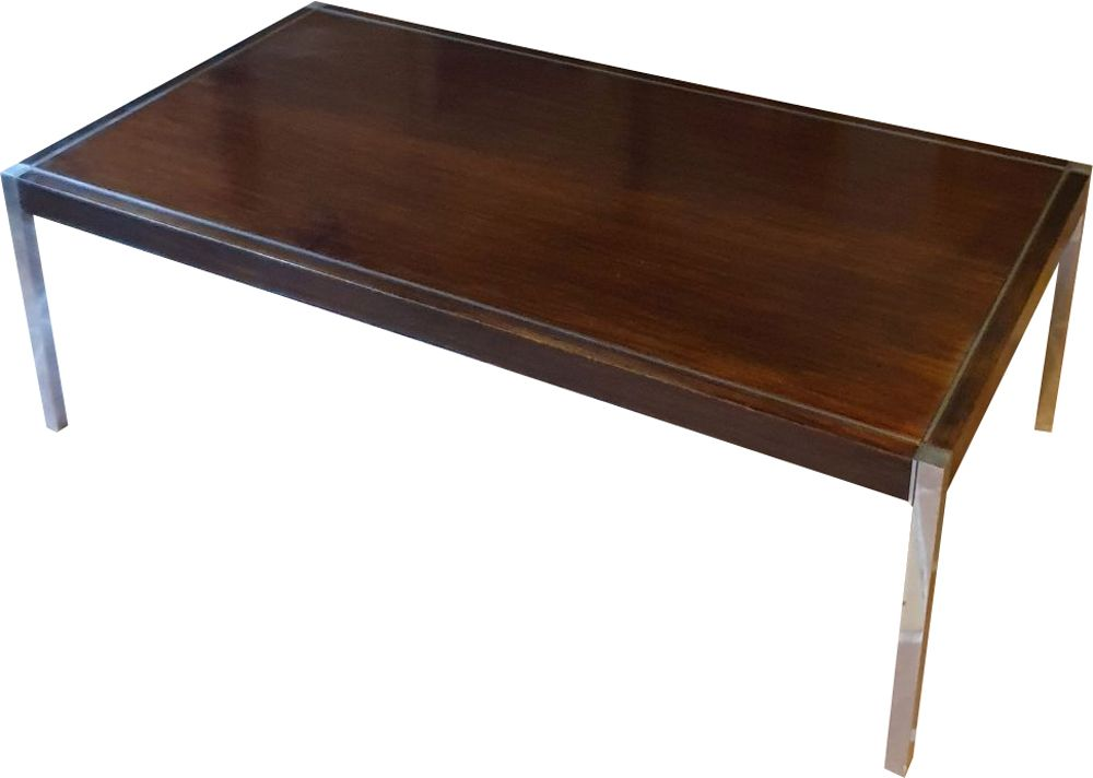 vintage coffee table by richard schultz for knoll international usa stained wood and chrome plated metal 1963