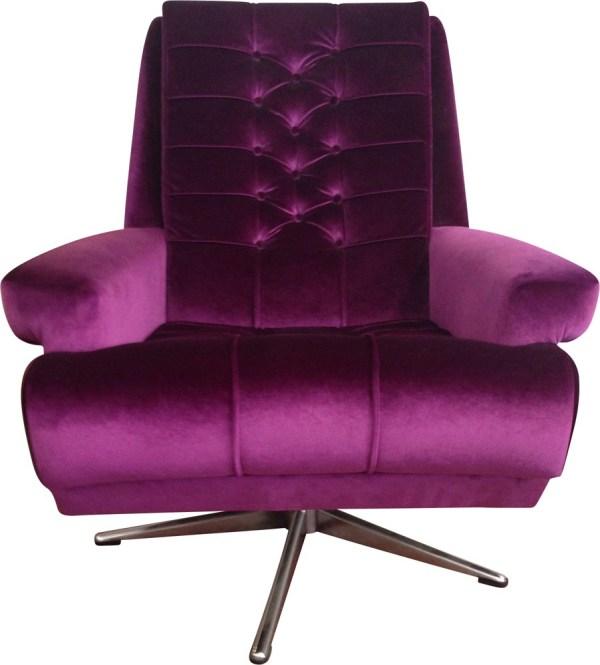 Purple Armchair In Velvet And Steel - 1970s Design Market