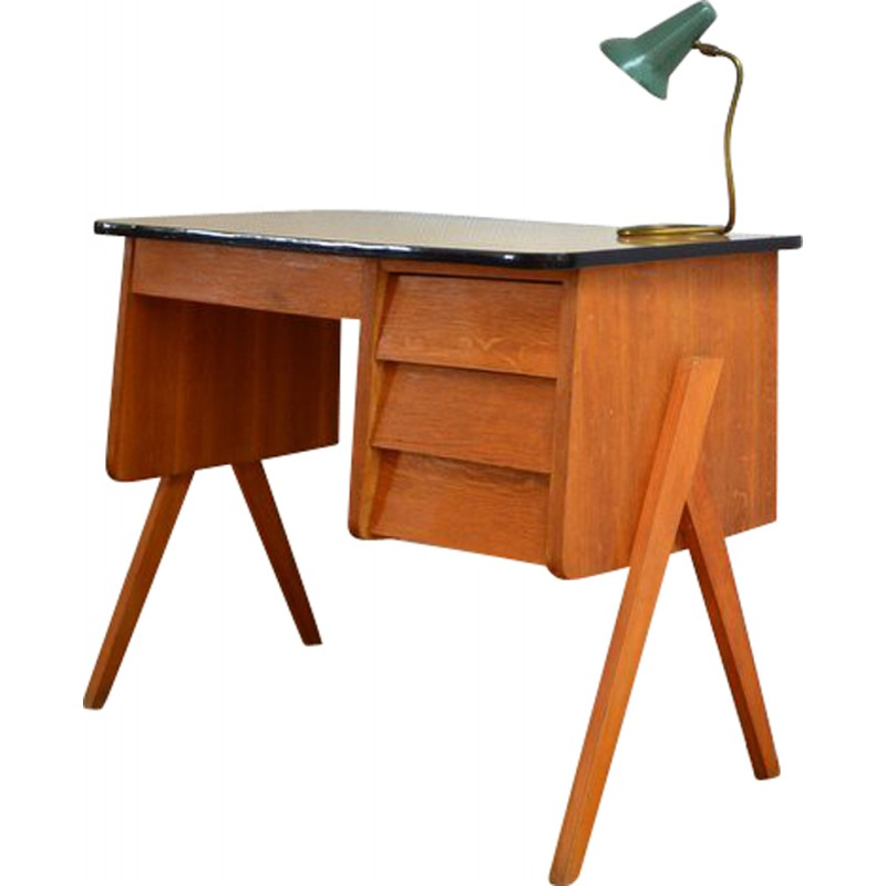 mid century desk in teak with compass legs 1950s