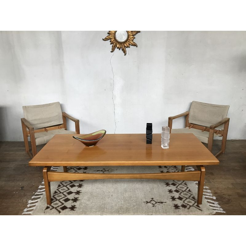 large vintage scandinavian coffee table with spindle legs 1960
