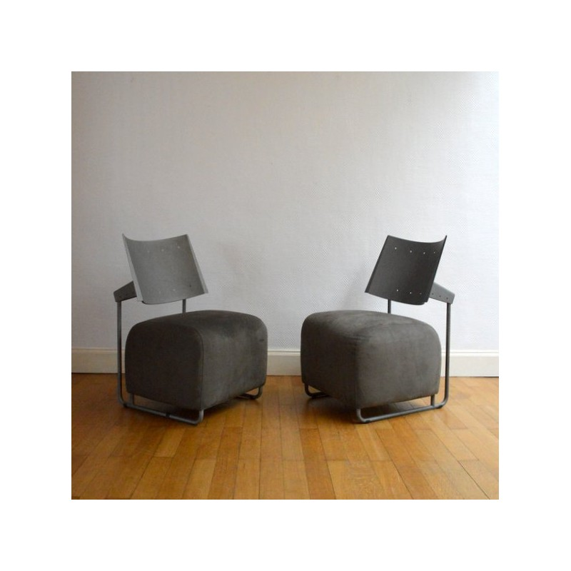 grey modern armchairs chair cover rental detroit mid century pair of fabric 1980s design market