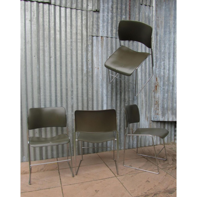 david rowland metal chair reclining office desk set of 4 vintage stackable chairs by model 404 1960s