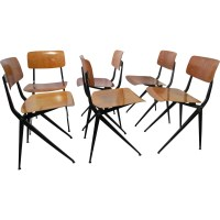 A set of 6 mid century industrial dining chairs by Ynske ...