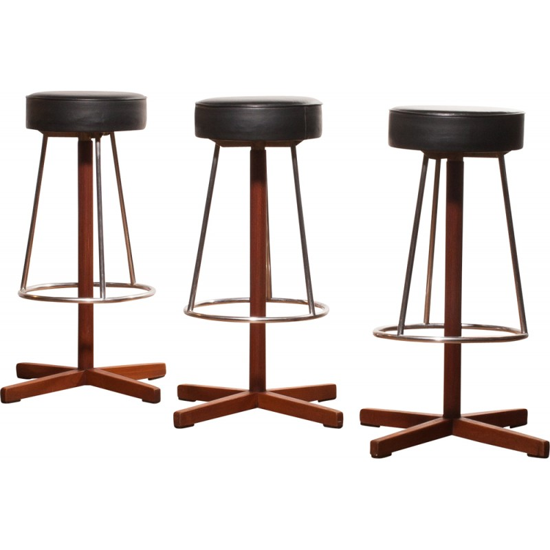 set of three bar stools with leather seat 1960s