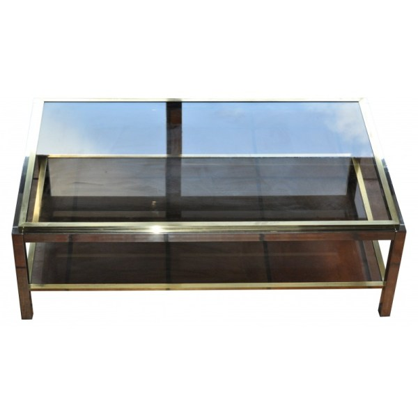 Coffee Table With Double Layer In Glass - 1970s Design