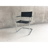 Mid century Italian Bauhaus leather chair with tubular ...