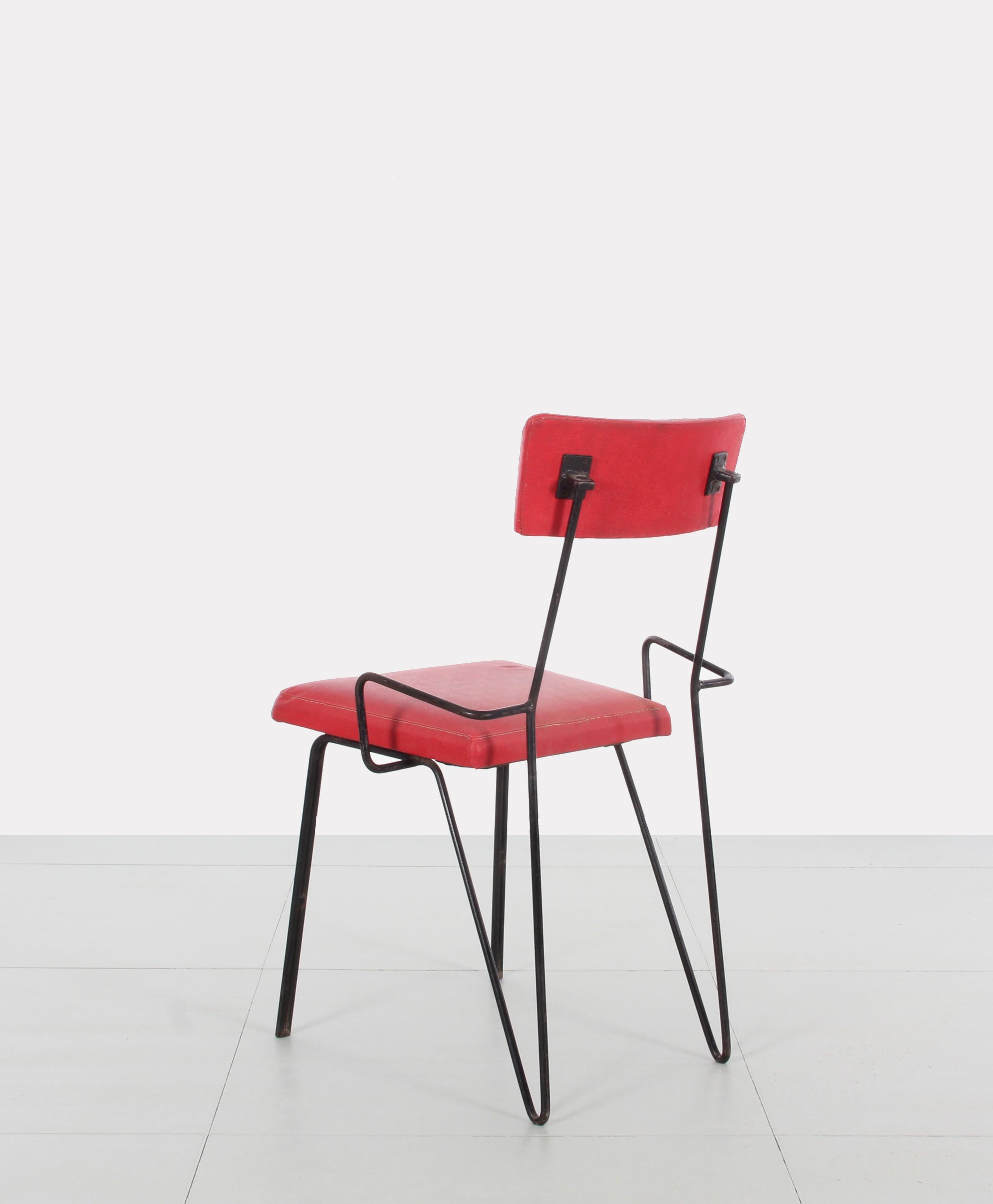 Pair of red metal chairs Soviet design  1960s  Design