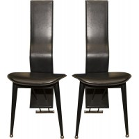 Pair of Italian mid-century high back leather dining ...