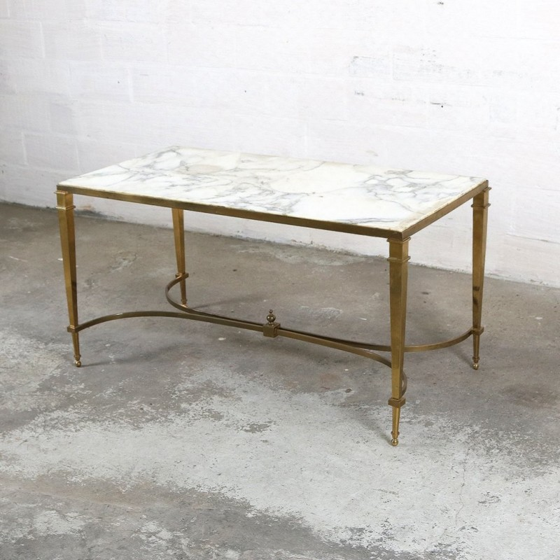 maison jansen white coffee table in marble and brass 1970s