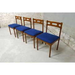 Royal Blue Chairs In Spanish Set Of 4 With Round Legs 1950s Design Market
