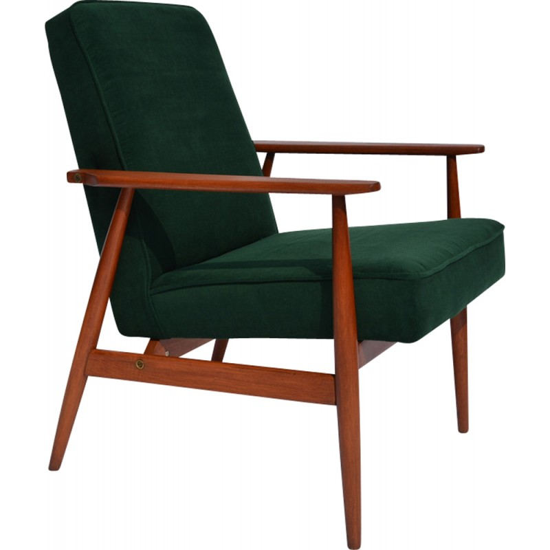 vintage arm chair bedroom reading with ottoman dark forest green polish armchair by h lis 1960s design