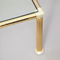 Chrome & Brass vintage Column Legs Coffee Table - 1970s ...