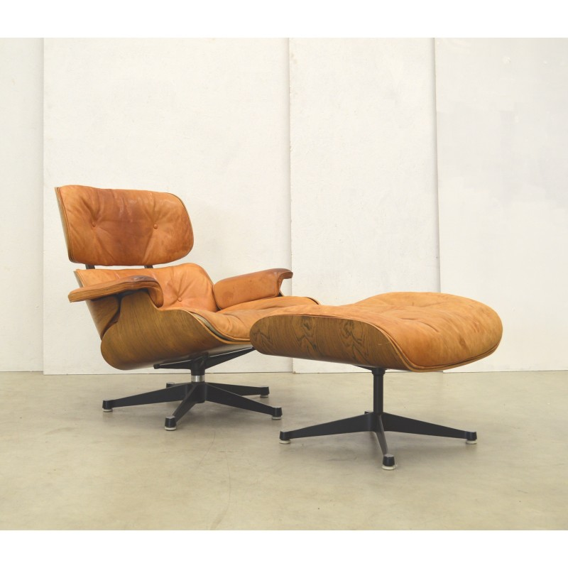 charles eames lounge chair patio leg caps lowes cognac ottoman by herman miller 1960s