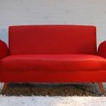 Mid Century Modern Dark Red Sofa 1960s
