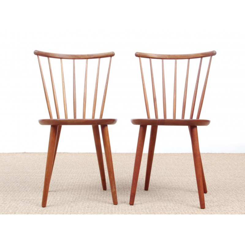 Pair of Scandinavian chairs made of solid teak  1950s
