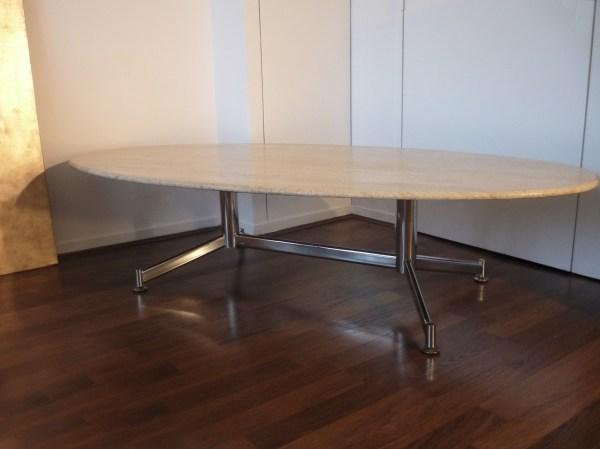 Vintage Travertine And Steel Marble Coffee Table - 1960s
