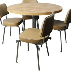 Small Dining Chairs Accent Club Vintage Table And 4 Vinyl Chrome Previous Next