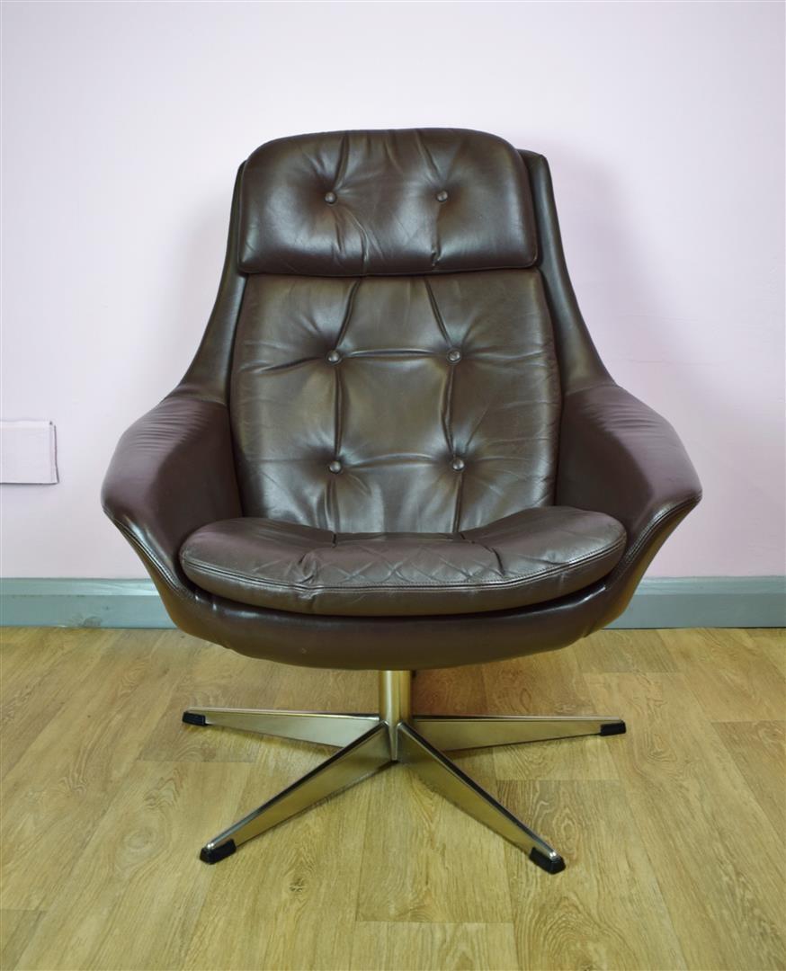 Vintage Danish HW Klein for Bramin Brown Leather Swivel