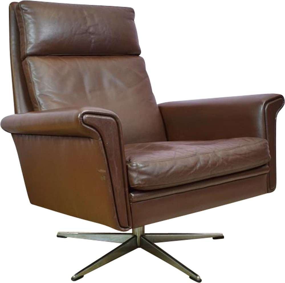 Vintage Danish Brown Leather Swivel Lounge Arm Chair