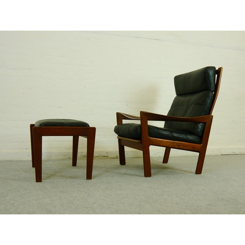 easy chairs with footrests chair dollies for sale teak by illum wikkelsoe footrest in black leather previous