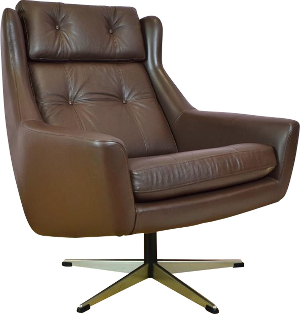 Vintage Retro Danish Brown Leather Swivel Lounge Arm Chair