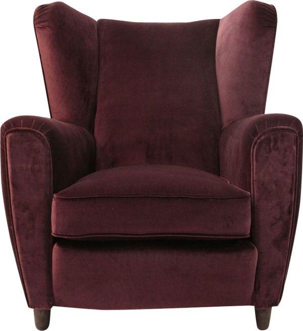 Vintage Italian Burgundi Velvet Purple Armchair - Design