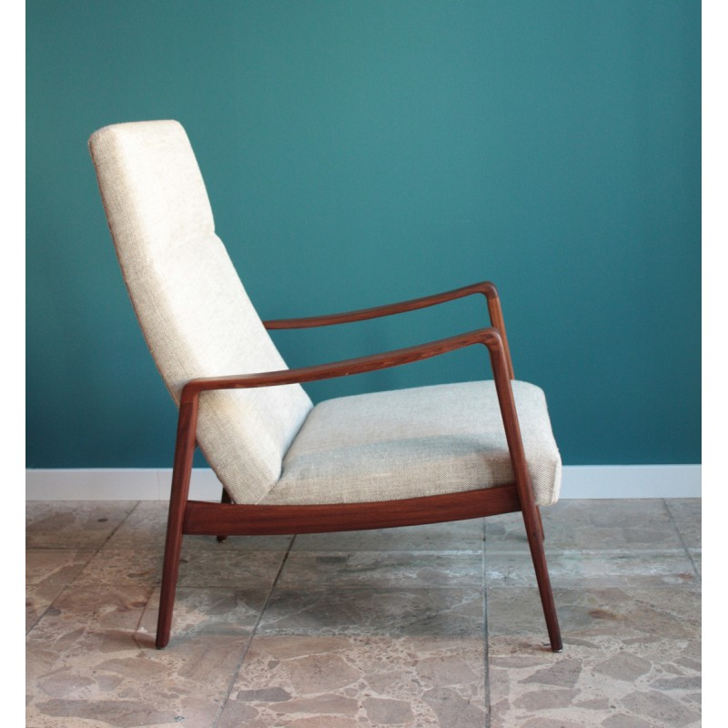 red lounge chair office base in teak, brass and fabric, arne wahl iversen - 1960s design market