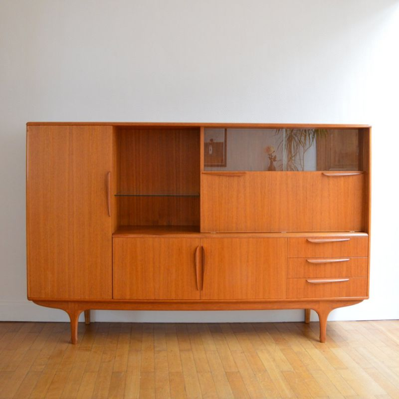 vintage sideboard in teak by tricoire and vecchione for meubles tv paris 1960s