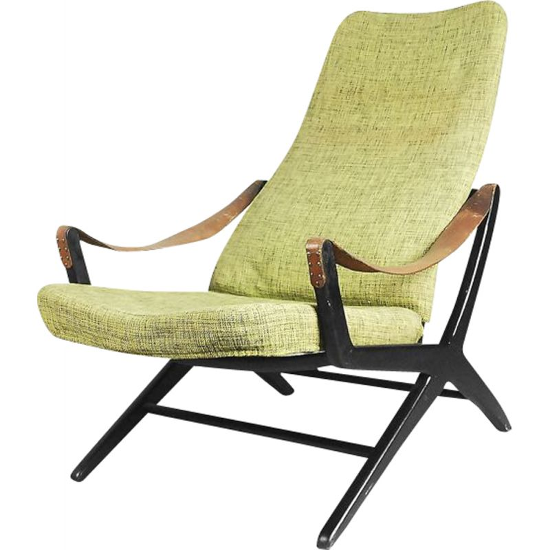 vintage joker armchair for ikea in wood and green fabric 1950