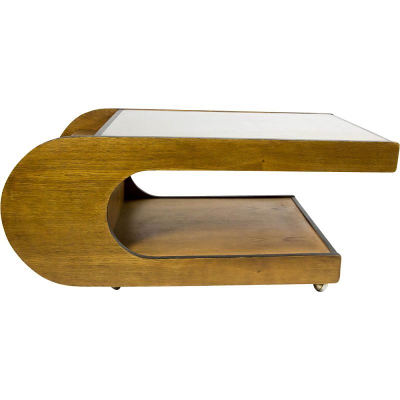 u shaped coffee table with glass top