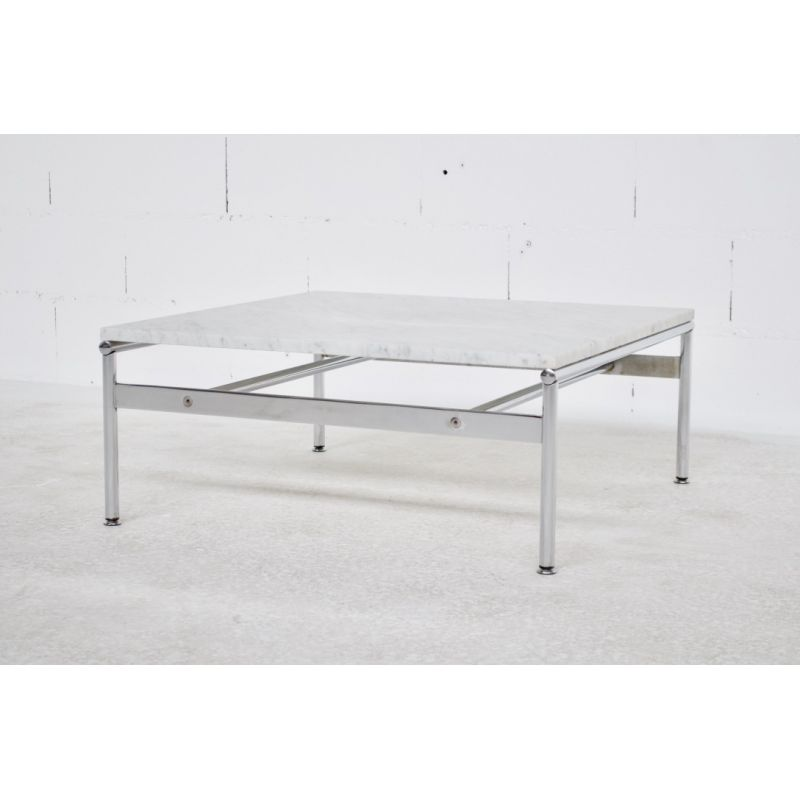 vintage marble and chrome steel coffee table 1970s
