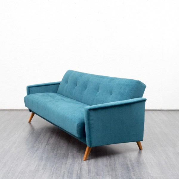 Vintage Sofa Daybed In Blue Fabric - 1950s Design Market
