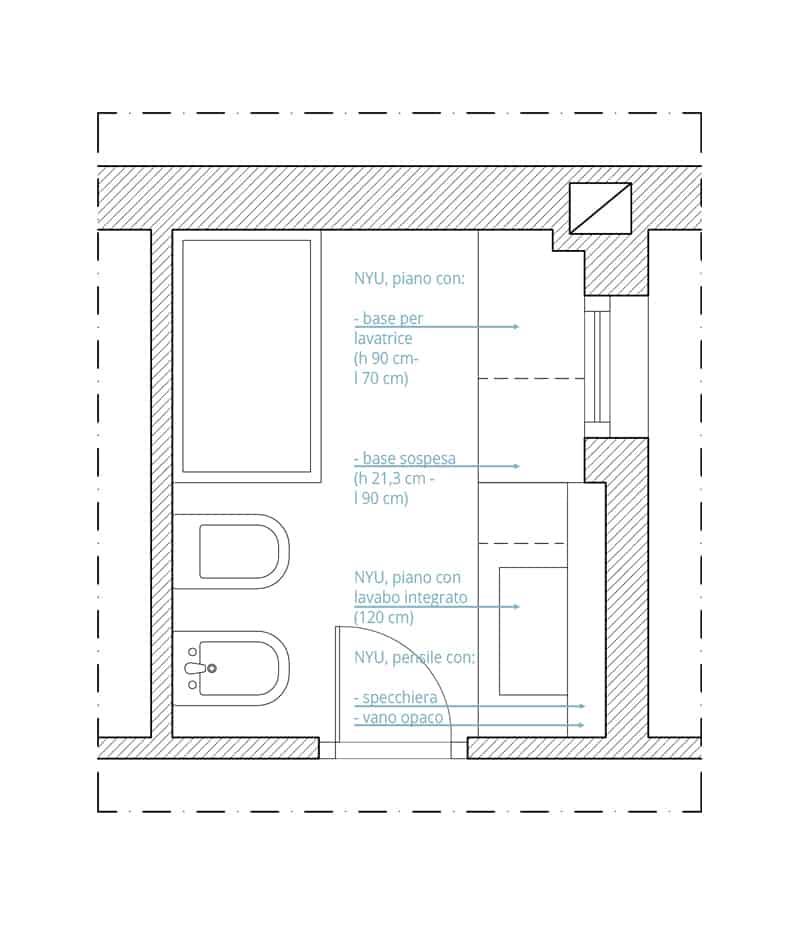 progetto bagno | la planimetria post operam