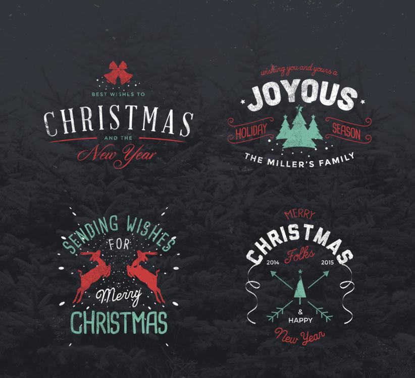 4 Vintage Christmas Badges Freebie