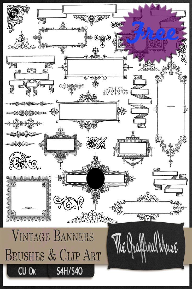 Free_Vintage_Banners_Frames_Photoshop_Brushes_Png_Clip_Art