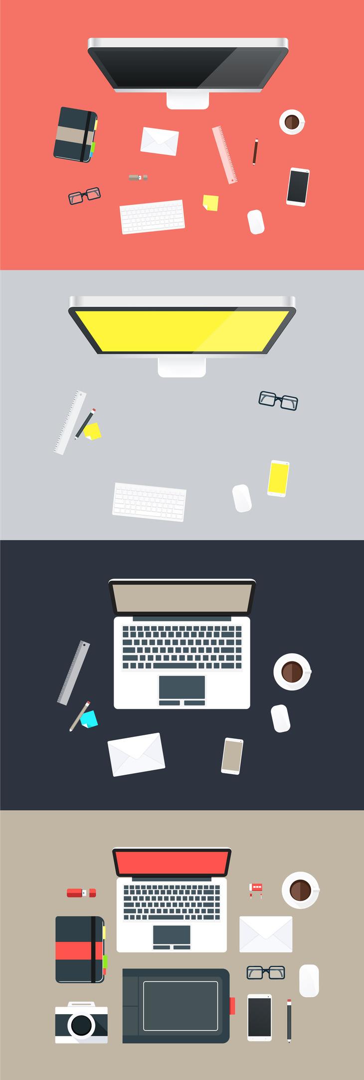 Flat Hero Desk Illustrations in Vector Format