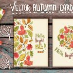 Vector Hand Drawn leaves Autumn Cards