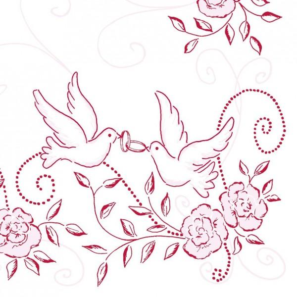 50 Airlaid Hochzeitservietten 40x40 cm DESIGN  HOCHZEIT rosa bordeaux Servietten AirlaidServietten