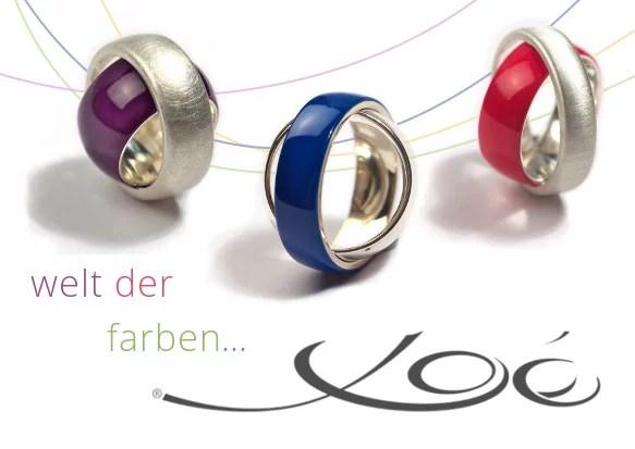 Schmuckring farbig Ring im Ring