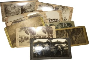 Stereoscope Cards have two images printed side-by-side. The photos are taken of the same subject from different angles. When viewed, they appear three dimensional.