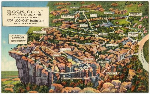Old Postcard Map of Rock City Gardens Fairyland